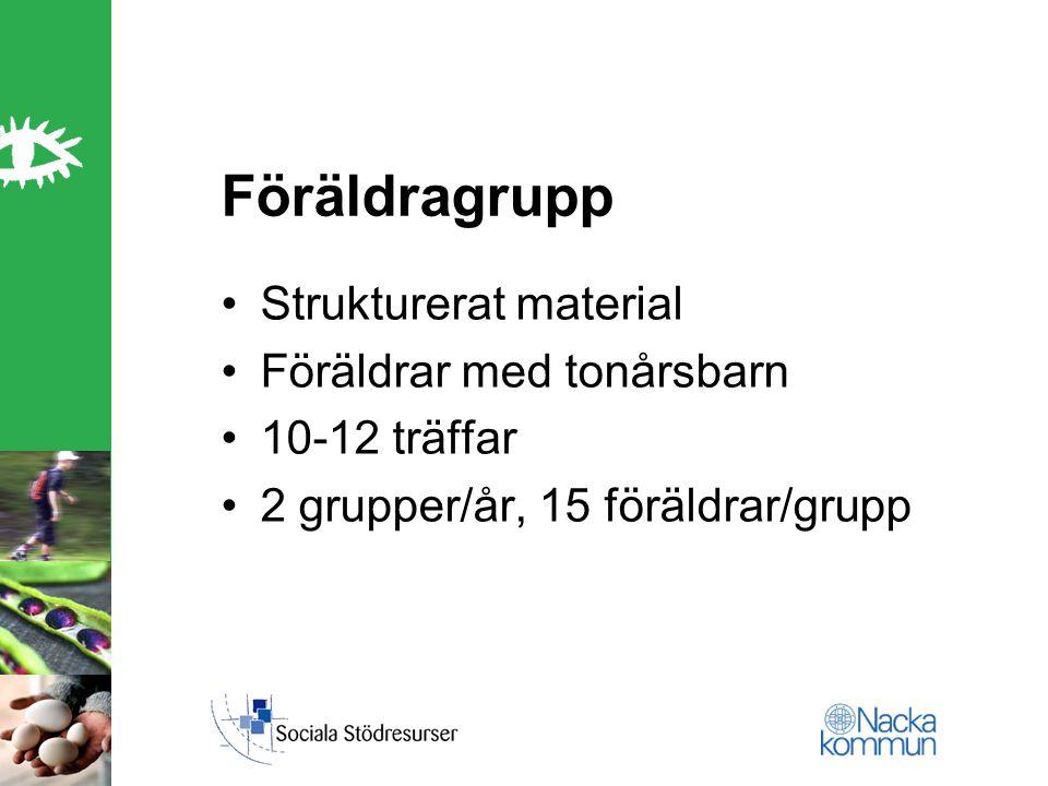 Föräldragrupp Strukturerat material Föräldrar med tonårsbarn 10-12 träffar 2 grupper/år, 15 föräldrar/grupp