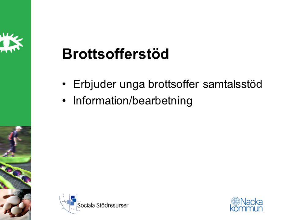 Brottsofferstöd Erbjuder unga brottsoffer samtalsstöd Information/bearbetning