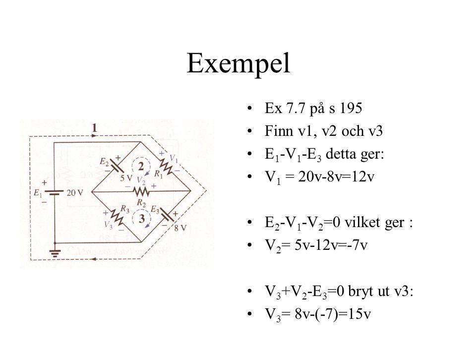 Exempel Ex 7.7 på s 195 Finn v1, v2 och v3 E 1 -V 1 -E 3 detta ger: V 1 = 20v-8v=12v E 2 -V 1 -V 2 =0 vilket ger : V 2 = 5v-12v=-7v V 3 +V 2 -E 3 =0 bryt ut v3: V 3 = 8v-(-7)=15v