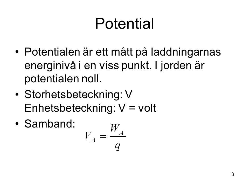 Potential Potentialen är ett mått på laddningarnas energinivå i en viss punkt. I jorden är potentialen noll. Storhetsbeteckning: V Enhetsbeteckning: V