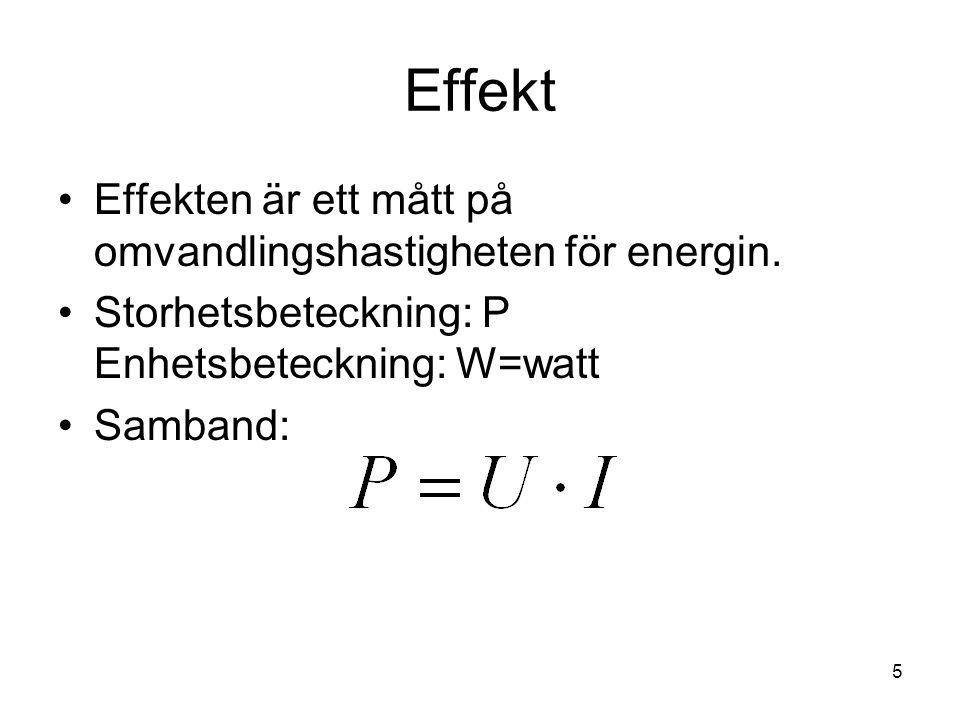 Effekt Effekten är ett mått på omvandlingshastigheten för energin. Storhetsbeteckning: P Enhetsbeteckning: W=watt Samband: 5