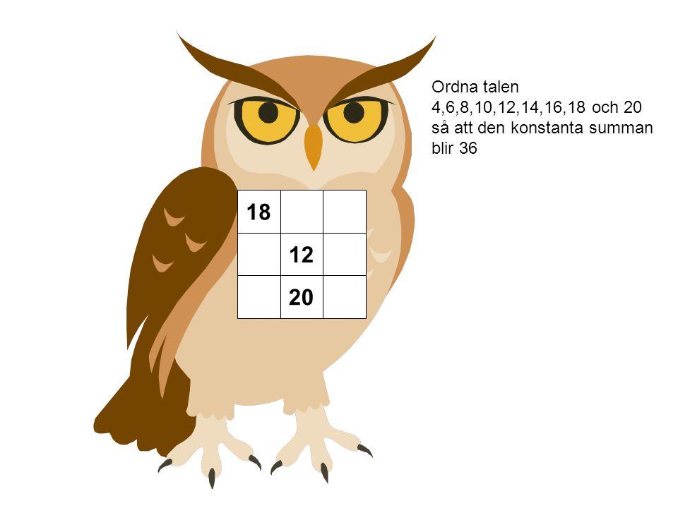 Ordna talen 4,6,8,10,12,14,16,18 och 20 så att den konstanta summan blir 36 18 12 20