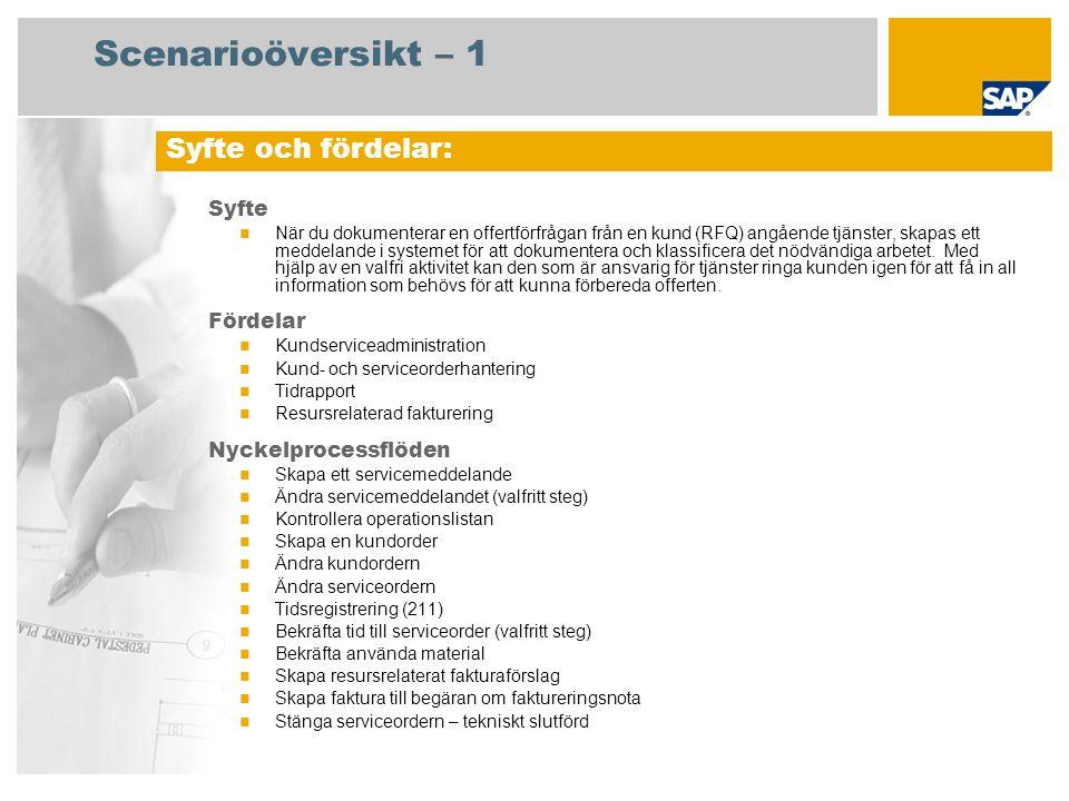 Scenarioöversikt – 1 Syfte När du dokumenterar en offertförfrågan från en kund (RFQ) angående tjänster, skapas ett meddelande i systemet för att dokum