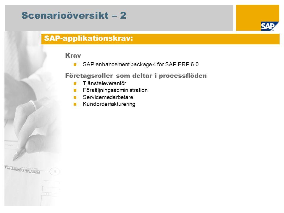 Scenarioöversikt – 2 Krav SAP enhancement package 4 för SAP ERP 6.0 Företagsroller som deltar i processflöden Tjänsteleverantör Försäljningsadministration Servicemedarbetare Kundorderfakturering SAP-applikationskrav: