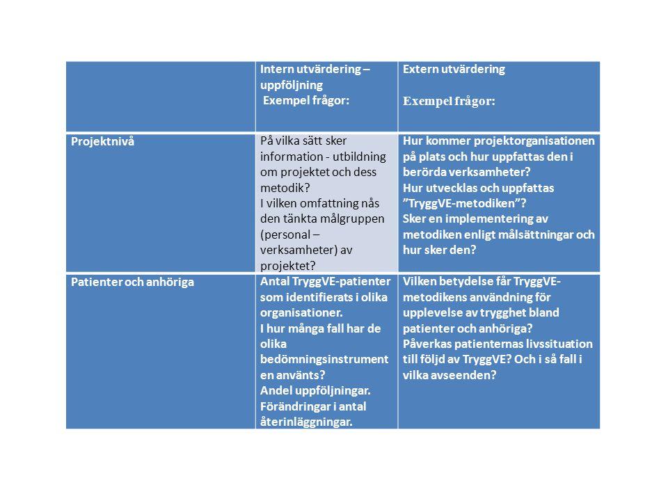 Intern utvärdering – uppföljning Exempel frågor: Extern utvärdering Exempel frågor: ProjektnivåPå vilka sätt sker information - utbildning om projektet och dess metodik.
