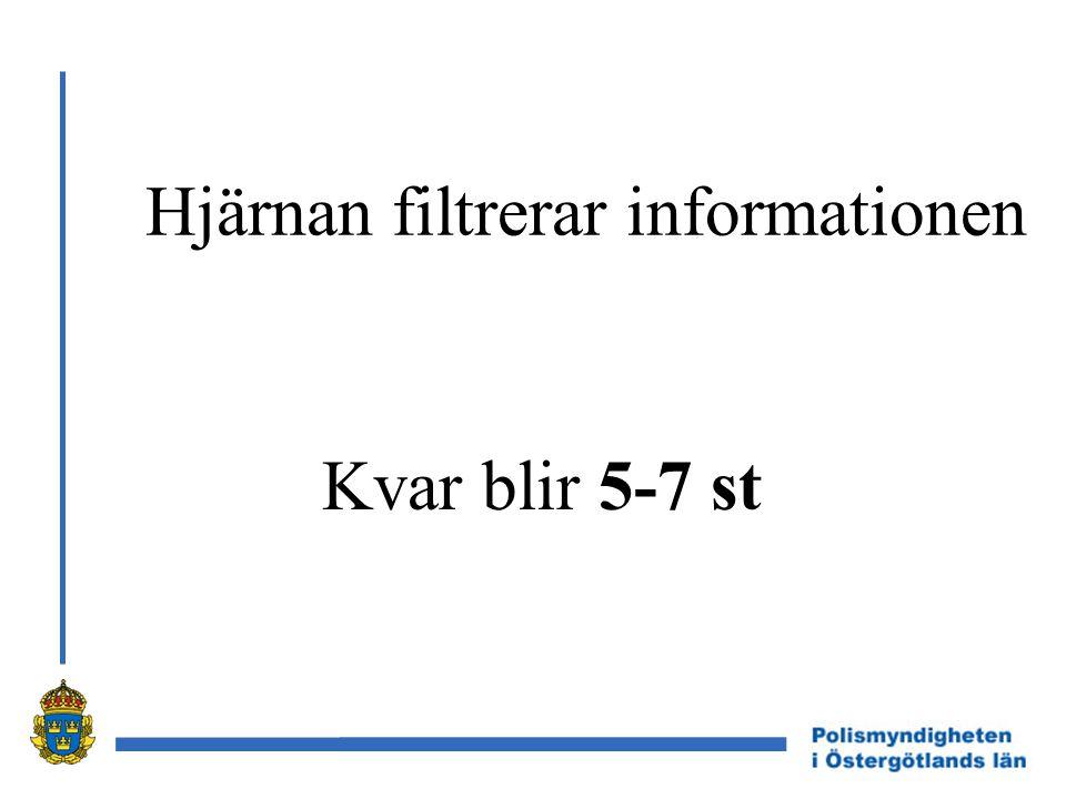 Hjärnan filtrerar informationen Kvar blir 5-7 st
