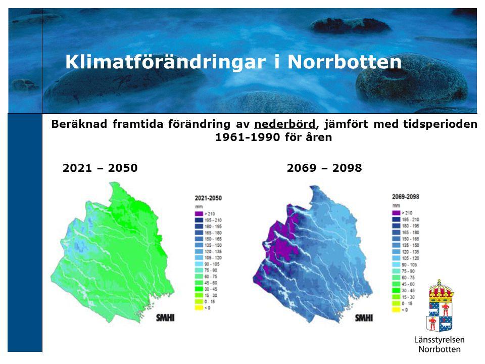 Snötäcke Beräknad framtida förändring av antal snödagar jämfört år 1963-1992 2021-2050 2069-2098