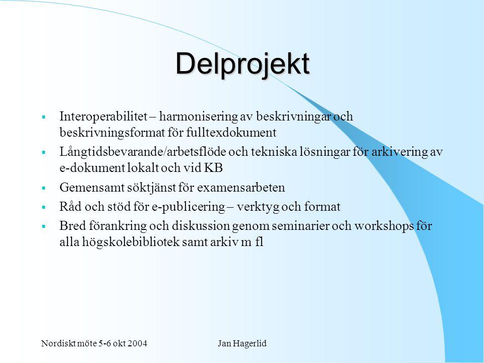 Nordiskt möte 5-6 okt 2004Jan Hagerlid Delprojekt  Interoperabilitet – harmonisering av beskrivningar och beskrivningsformat för fulltexdokument  Långtidsbevarande/arbetsflöde och tekniska lösningar för arkivering av e-dokument lokalt och vid KB  Gemensamt söktjänst för examensarbeten  Råd och stöd för e-publicering – verktyg och format  Bred förankring och diskussion genom seminarier och workshops för alla högskolebibliotek samt arkiv m fl