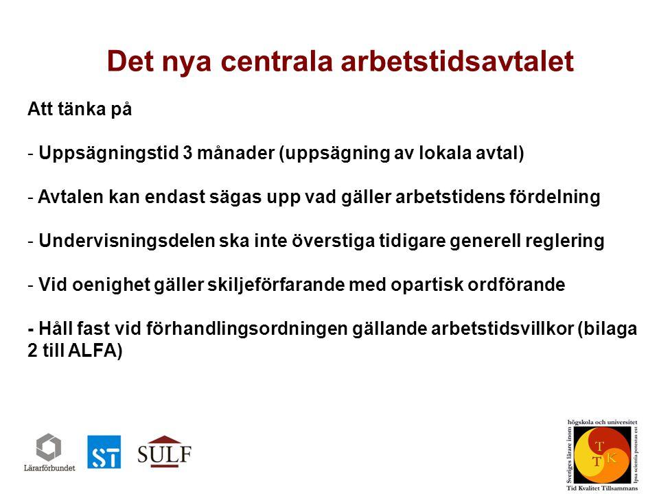 Det nya centrala arbetstidsavtalet Sveriges universitetslärarförbund www.sulf.se Att tänka på - Uppsägningstid 3 månader (uppsägning av lokala avtal) - Avtalen kan endast sägas upp vad gäller arbetstidens fördelning - Undervisningsdelen ska inte överstiga tidigare generell reglering - Vid oenighet gäller skiljeförfarande med opartisk ordförande - Håll fast vid förhandlingsordningen gällande arbetstidsvillkor (bilaga 2 till ALFA)