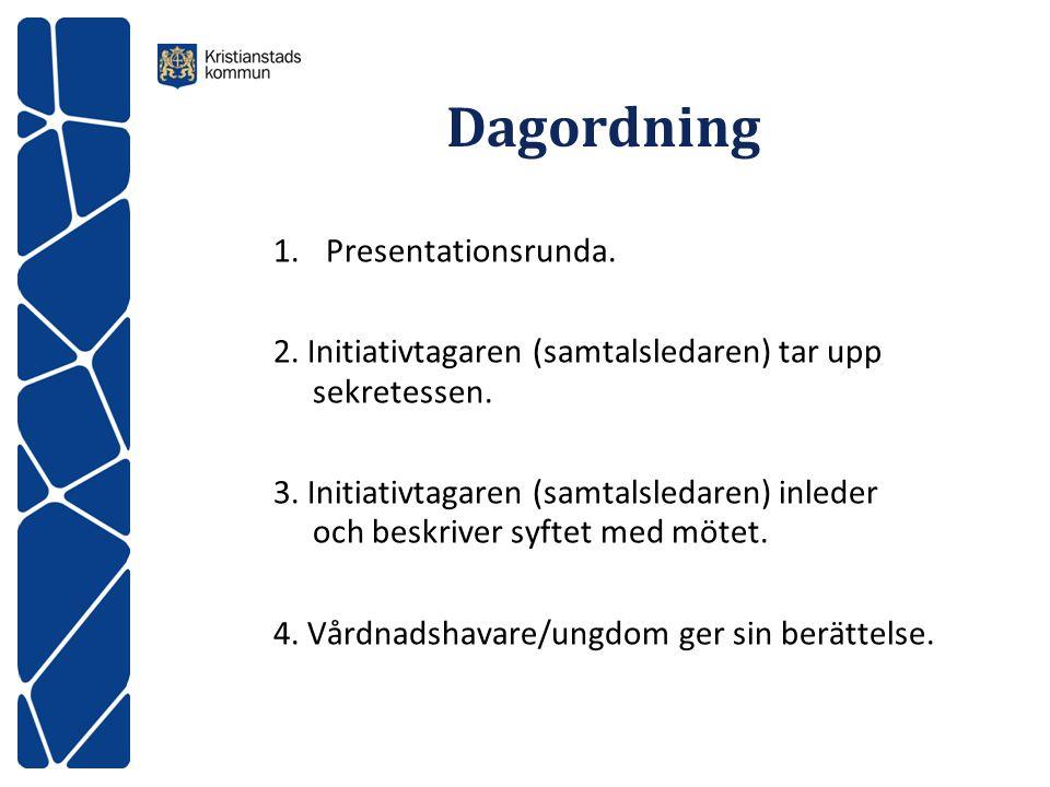 Dagordning 1.Presentationsrunda. 2. Initiativtagaren (samtalsledaren) tar upp sekretessen. 3. Initiativtagaren (samtalsledaren) inleder och beskriver