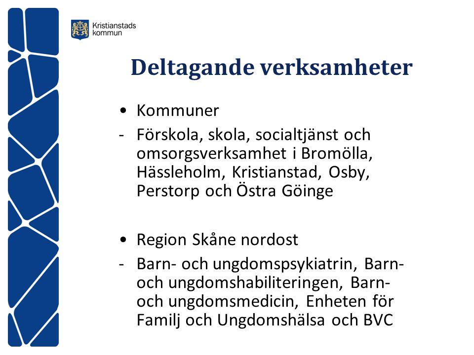 Deltagande verksamheter Kommuner -Förskola, skola, socialtjänst och omsorgsverksamhet i Bromölla, Hässleholm, Kristianstad, Osby, Perstorp och Östra G