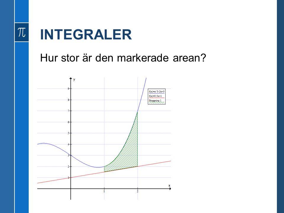 INTEGRALER Hur stor är den markerade arean?