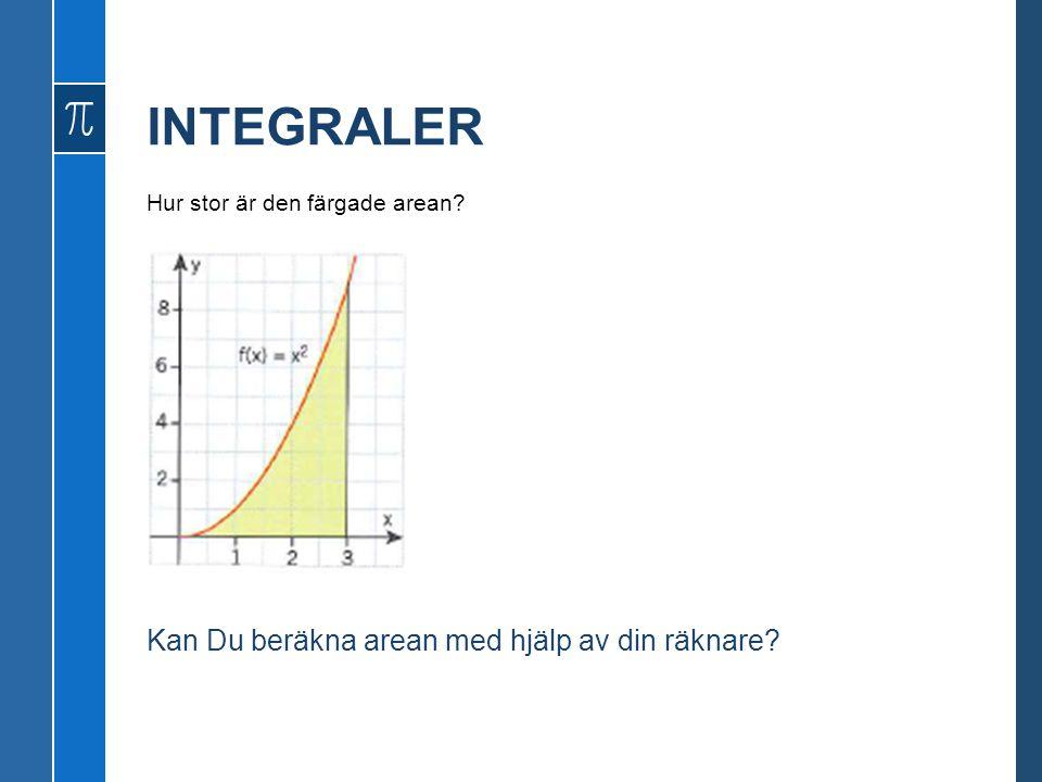 Hur stor är den färgade arean? Kan Du beräkna arean med hjälp av din räknare?