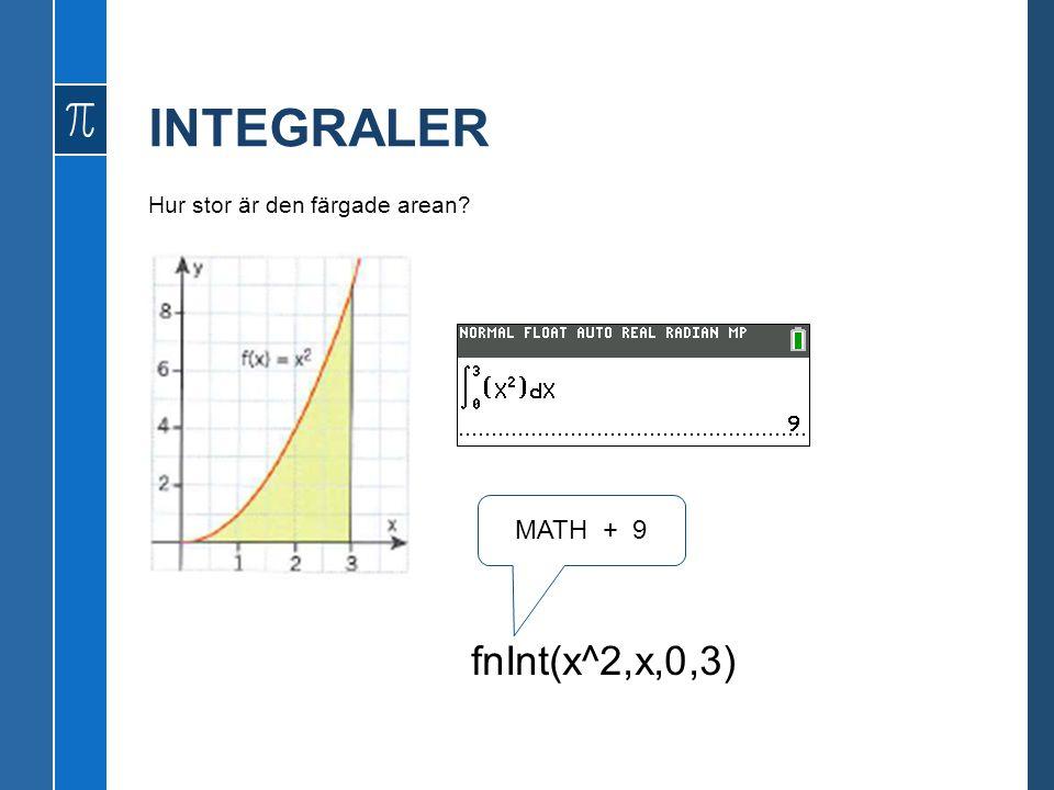 INTEGRALER Hur stor är den färgade arean? fnInt(x^2,x,0,3) MATH + 9
