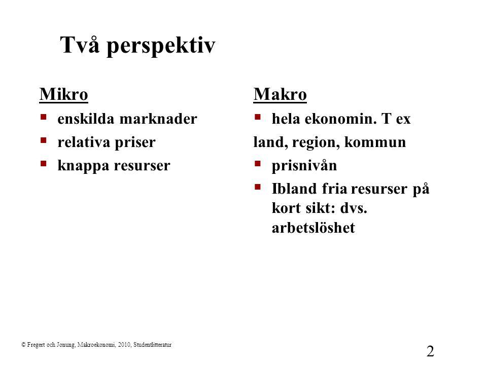 © Fregert och Jonung, Makroekonomi, 2010, Studentlitteratur 2 Två perspektiv Mikro  enskilda marknader  relativa priser  knappa resurser Makro  hela ekonomin.