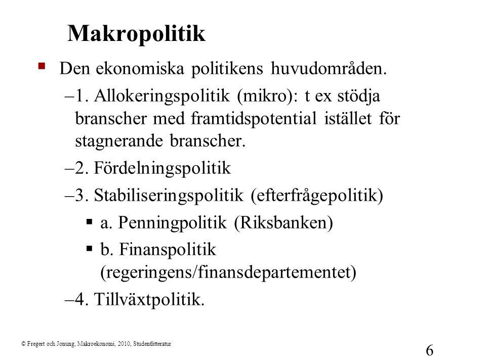 © Fregert och Jonung, Makroekonomi, 2010, Studentlitteratur 6 Makropolitik  Den ekonomiska politikens huvudområden.