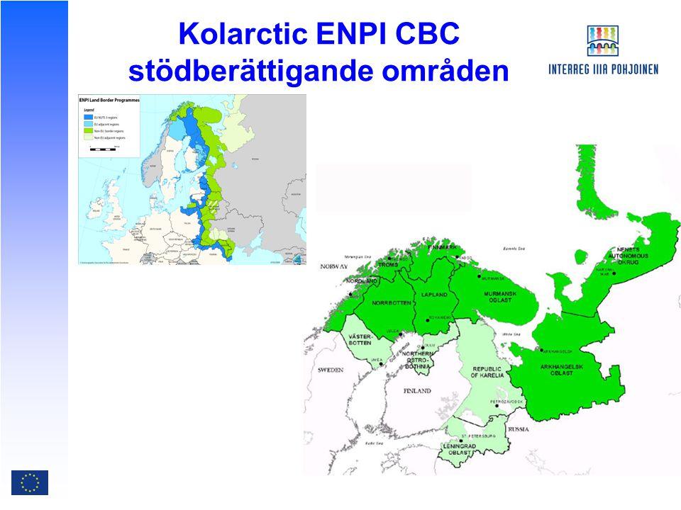 Kolarctic ENPI CBC stödberättigande områden