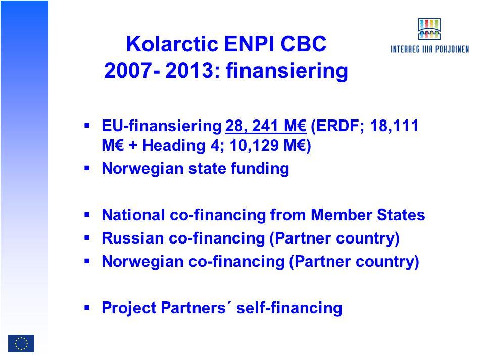 Kolarctic ENPI CBC : prioriterade områden  ekonomiskt och social utveckling  Gemensamma utmaningar  effektiva och säkra gränser  People-to-people samarbete