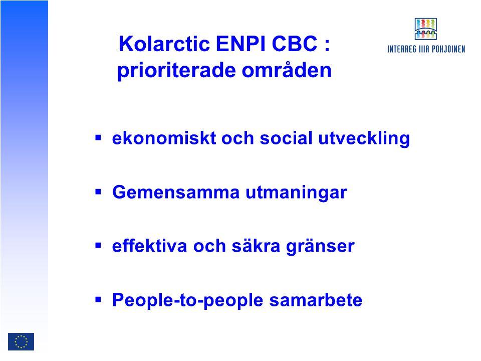 Kolarctic ENPI CBC : prioriterade områden  ekonomiskt och social utveckling  Gemensamma utmaningar  effektiva och säkra gränser  People-to-people