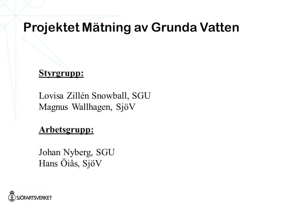 Styrgrupp: Lovisa Zillén Snowball, SGU Magnus Wallhagen, SjöV Arbetsgrupp: Johan Nyberg, SGU Hans Öiås, SjöV Projektet Mätning av Grunda Vatten