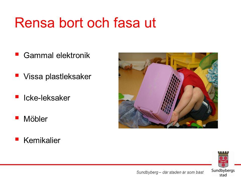 Sundbyberg – där staden är som bäst Rensa bort och fasa ut  Gammal elektronik  Vissa plastleksaker  Icke-leksaker  Möbler  Kemikalier