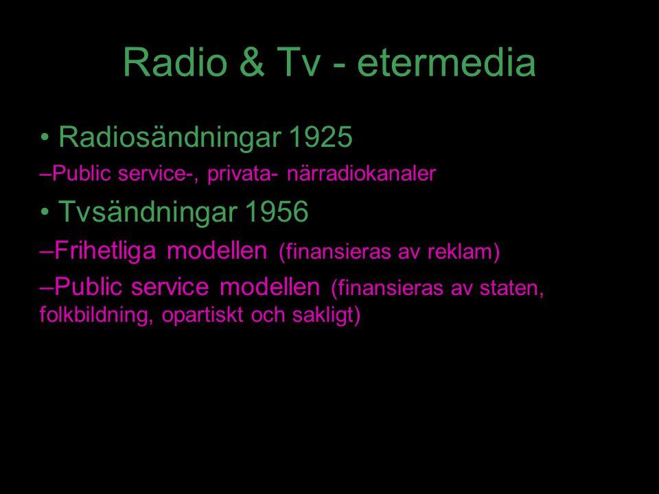 Radio & Tv - etermedia Radiosändningar 1925 –Public service-, privata- närradiokanaler Tvsändningar 1956 –Frihetliga modellen (finansieras av reklam)
