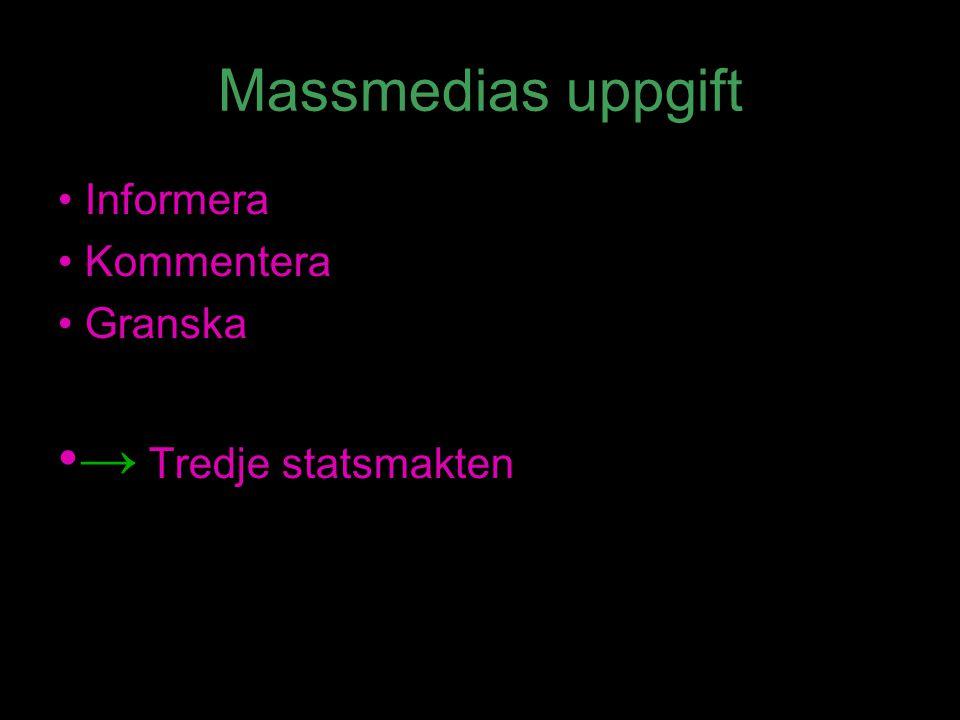 Massmedias uppgift Informera Kommentera Granska → Tredje statsmakten