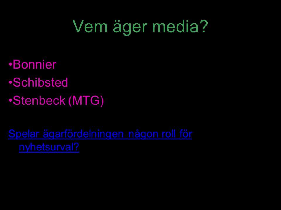 Vem äger media? Bonnier Schibsted Stenbeck (MTG) Spelar ägarfördelningen någon roll för nyhetsurval?