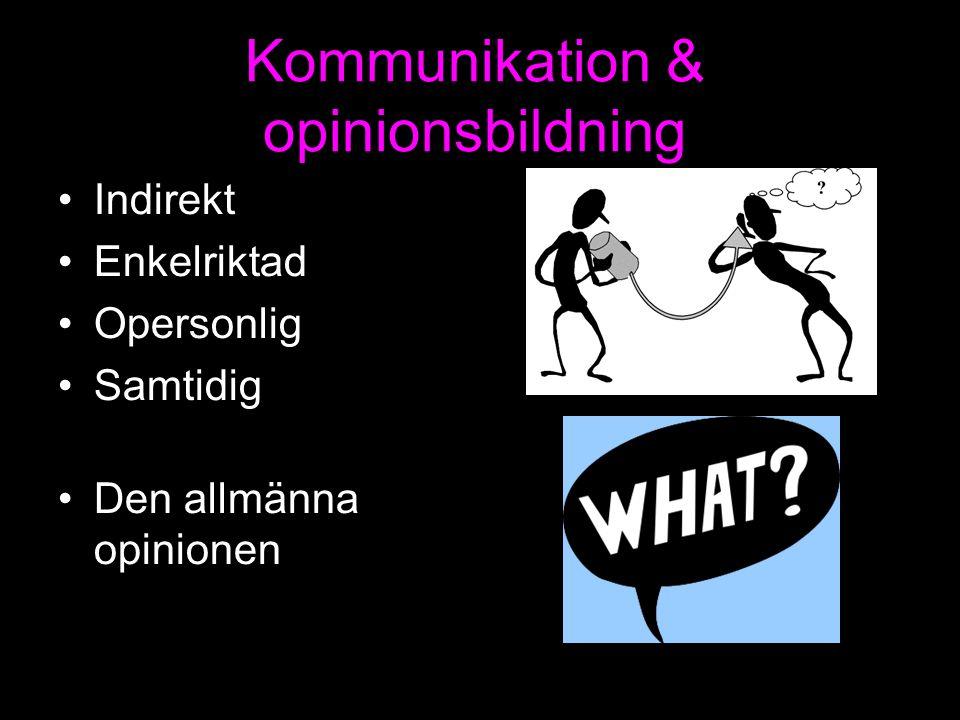 Kommunikation & opinionsbildning Indirekt Enkelriktad Opersonlig Samtidig Den allmänna opinionen