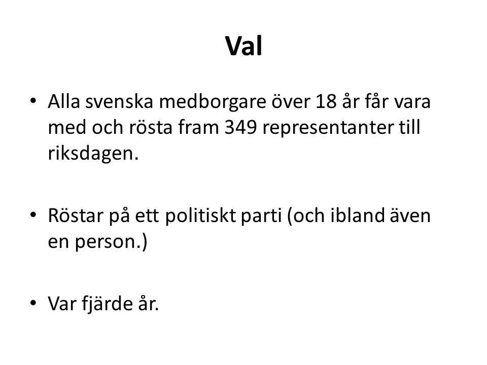 Val Alla svenska medborgare över 18 år får vara med och rösta fram 349 representanter till riksdagen. Röstar på ett politiskt parti (och ibland även e