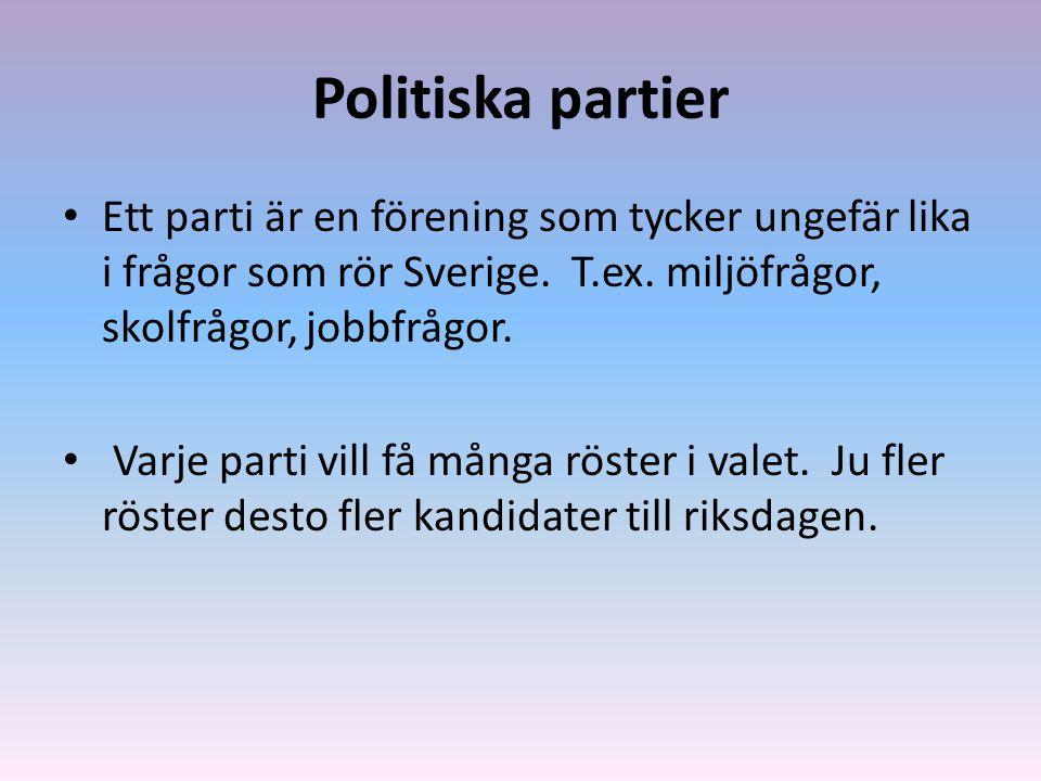 Politiska partier Ett parti är en förening som tycker ungefär lika i frågor som rör Sverige. T.ex. miljöfrågor, skolfrågor, jobbfrågor. Varje parti vi