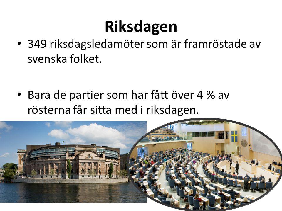 Riksdagen 349 riksdagsledamöter som är framröstade av svenska folket. Bara de partier som har fått över 4 % av rösterna får sitta med i riksdagen.