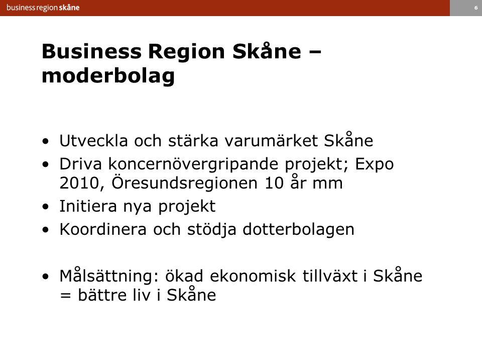 6 Business Region Skåne – moderbolag Utveckla och stärka varumärket Skåne Driva koncernövergripande projekt; Expo 2010, Öresundsregionen 10 år mm Initiera nya projekt Koordinera och stödja dotterbolagen Målsättning: ökad ekonomisk tillväxt i Skåne = bättre liv i Skåne
