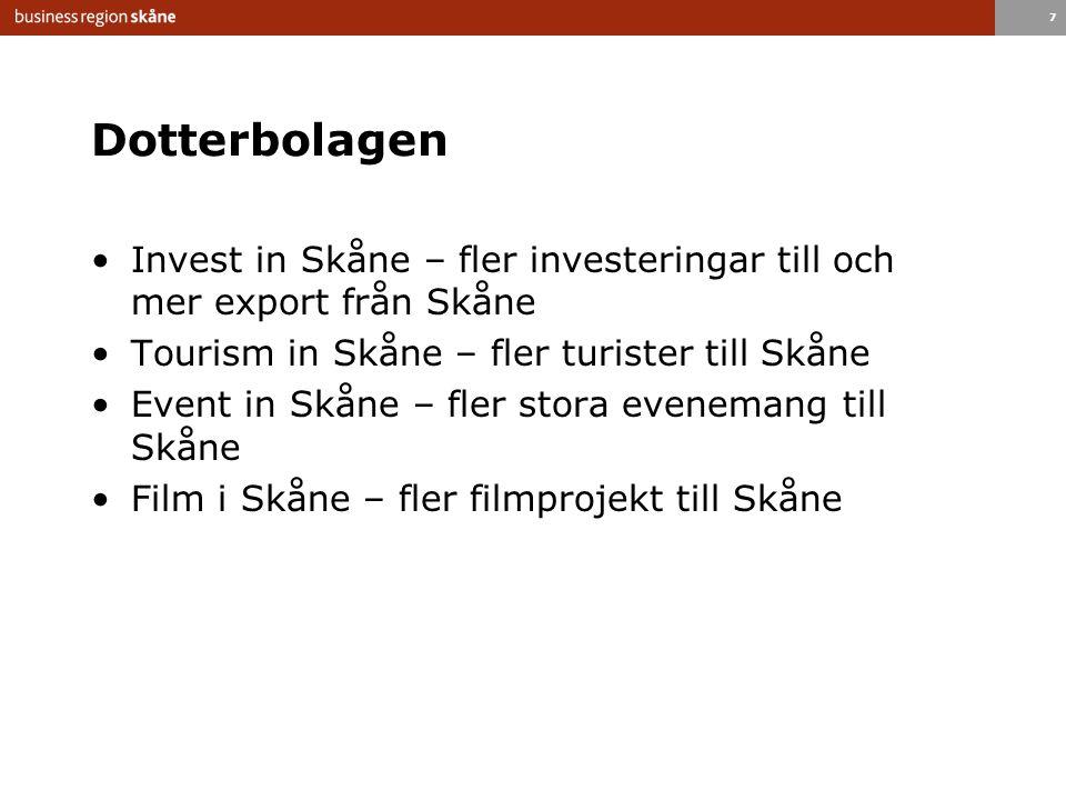 7 Dotterbolagen Invest in Skåne – fler investeringar till och mer export från Skåne Tourism in Skåne – fler turister till Skåne Event in Skåne – fler stora evenemang till Skåne Film i Skåne – fler filmprojekt till Skåne