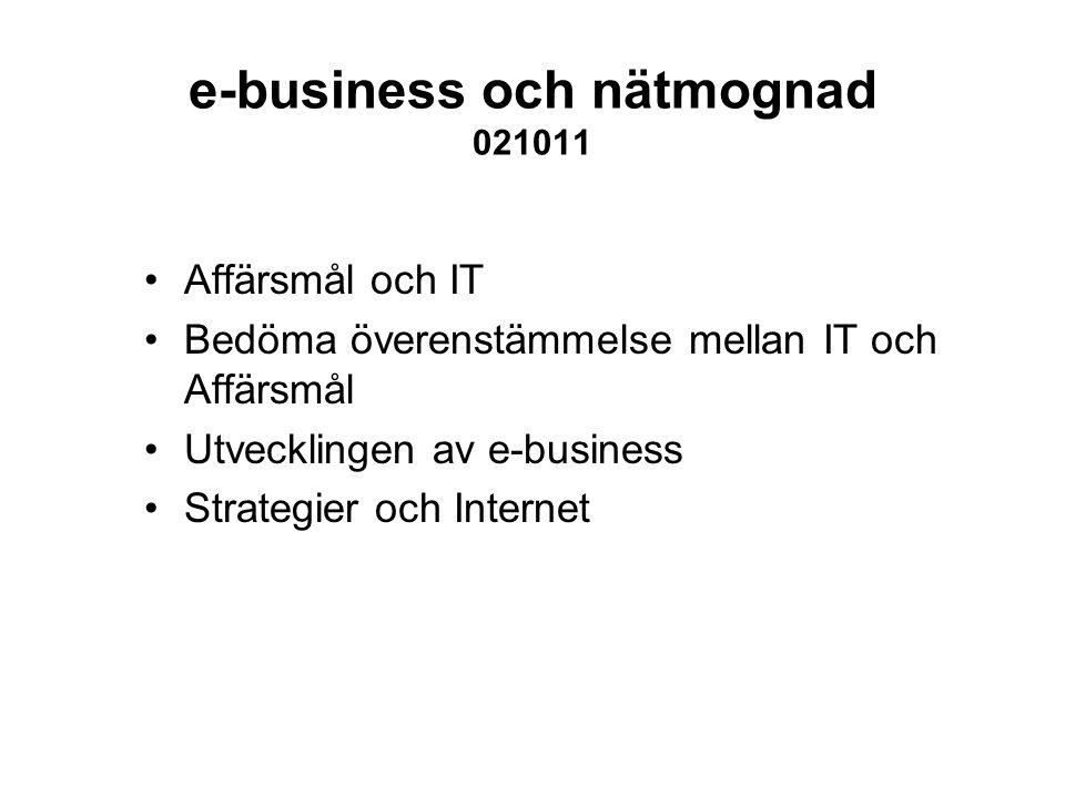 e-business och nätmognad 021011 Affärsmål och IT Bedöma överenstämmelse mellan IT och Affärsmål Utvecklingen av e-business Strategier och Internet