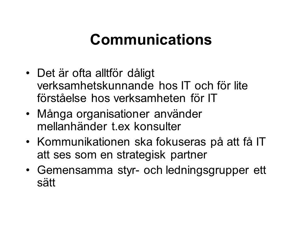 Communications Det är ofta alltför dåligt verksamhetskunnande hos IT och för lite förståelse hos verksamheten för IT Många organisationer använder mel