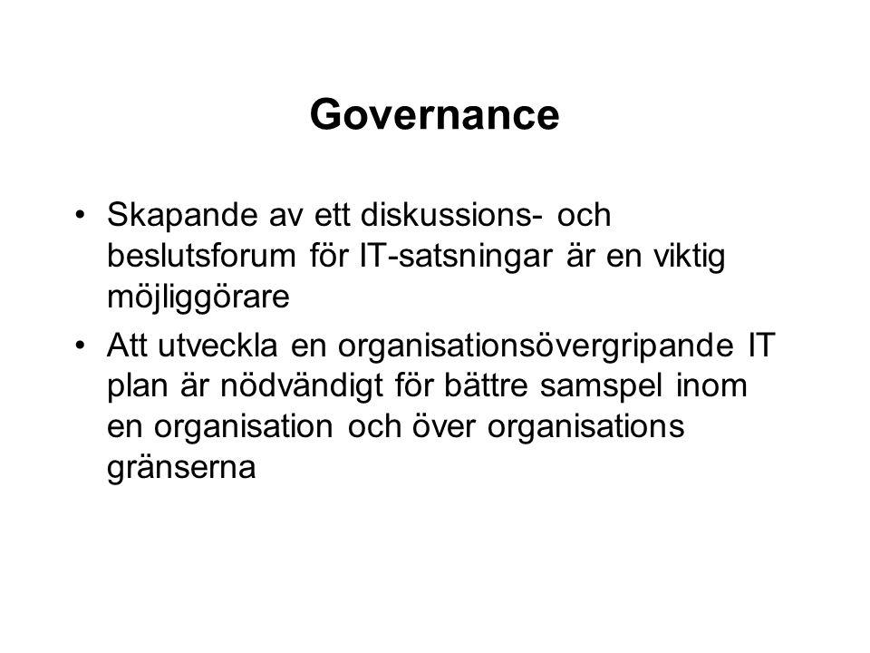 Governance Skapande av ett diskussions- och beslutsforum för IT-satsningar är en viktig möjliggörare Att utveckla en organisationsövergripande IT plan