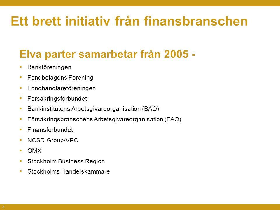 3 Ett brett initiativ från finansbranschen Elva parter samarbetar från 2005 -  Bankföreningen  Fondbolagens Förening  Fondhandlareföreningen  Försäkringsförbundet  Bankinstitutens Arbetsgivareorganisation (BAO)  Försäkringsbranschens Arbetsgivareorganisation (FAO)  Finansförbundet  NCSD Group/VPC  OMX  Stockholm Business Region  Stockholms Handelskammare