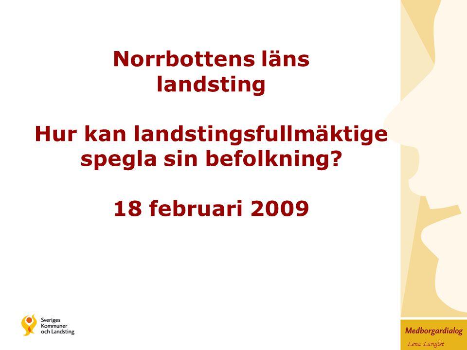 Lena Langlet Norrbottens läns landsting Hur kan landstingsfullmäktige spegla sin befolkning.