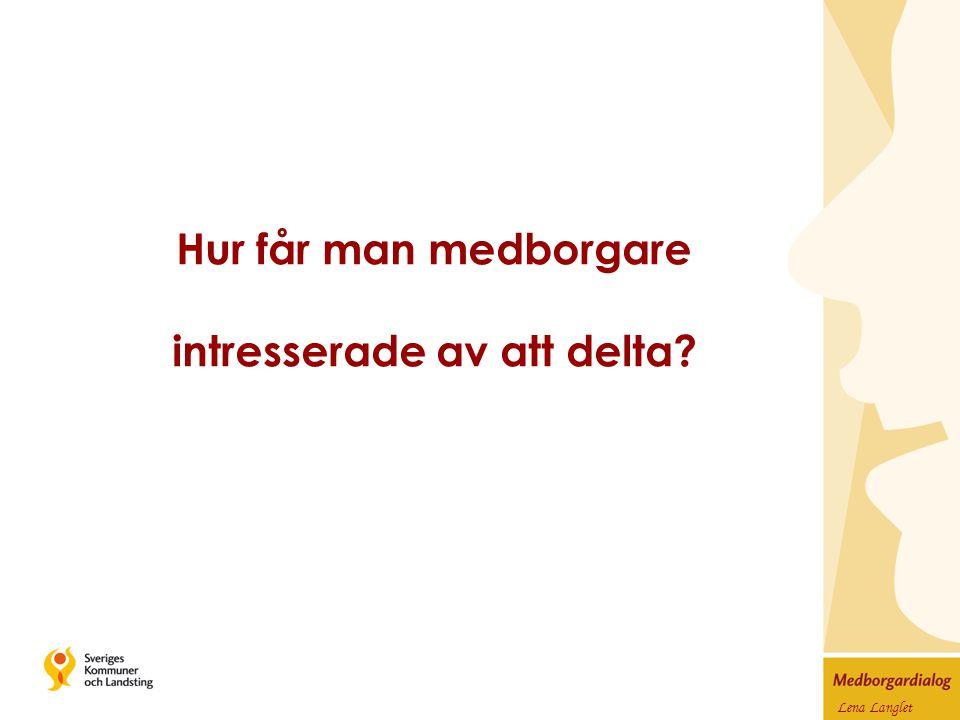 Lena Langlet Hur får man medborgare intresserade av att delta