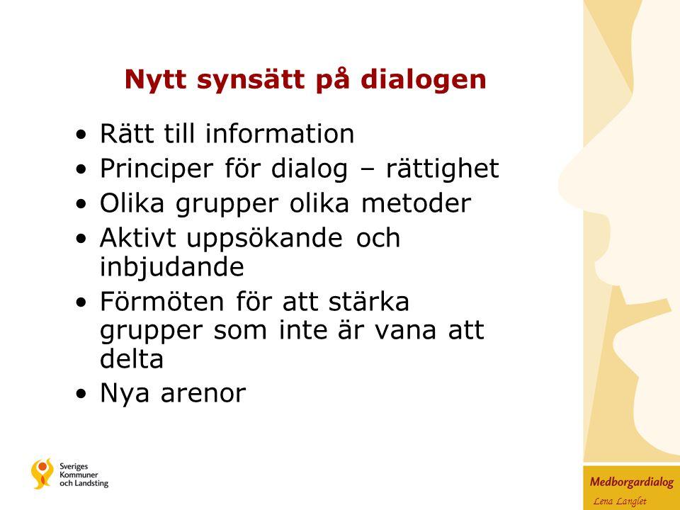 Lena Langlet Nytt synsätt på dialogen Rätt till information Principer för dialog – rättighet Olika grupper olika metoder Aktivt uppsökande och inbjudande Förmöten för att stärka grupper som inte är vana att delta Nya arenor