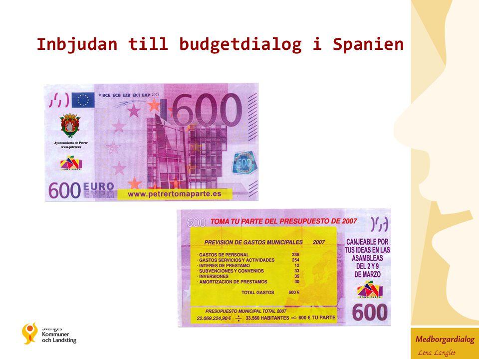 Lena Langlet Inbjudan till budgetdialog i Spanien