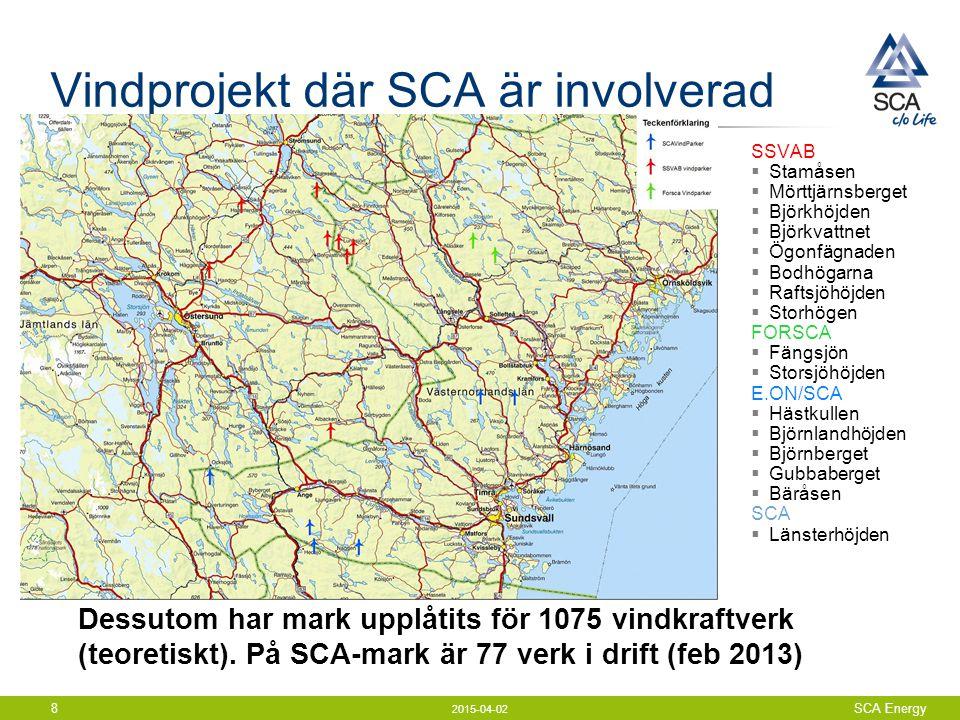 2015-04-02 SCA Energy8 Vindprojekt där SCA är involverad SSVAB  Stamåsen  Mörttjärnsberget  Björkhöjden  Björkvattnet  Ögonfägnaden  Bodhögarna  Raftsjöhöjden  Storhögen FORSCA  Fängsjön  Storsjöhöjden E.ON/SCA  Hästkullen  Björnlandhöjden  Björnberget  Gubbaberget  Bäråsen SCA  Länsterhöjden Dessutom har mark upplåtits för 1075 vindkraftverk (teoretiskt).