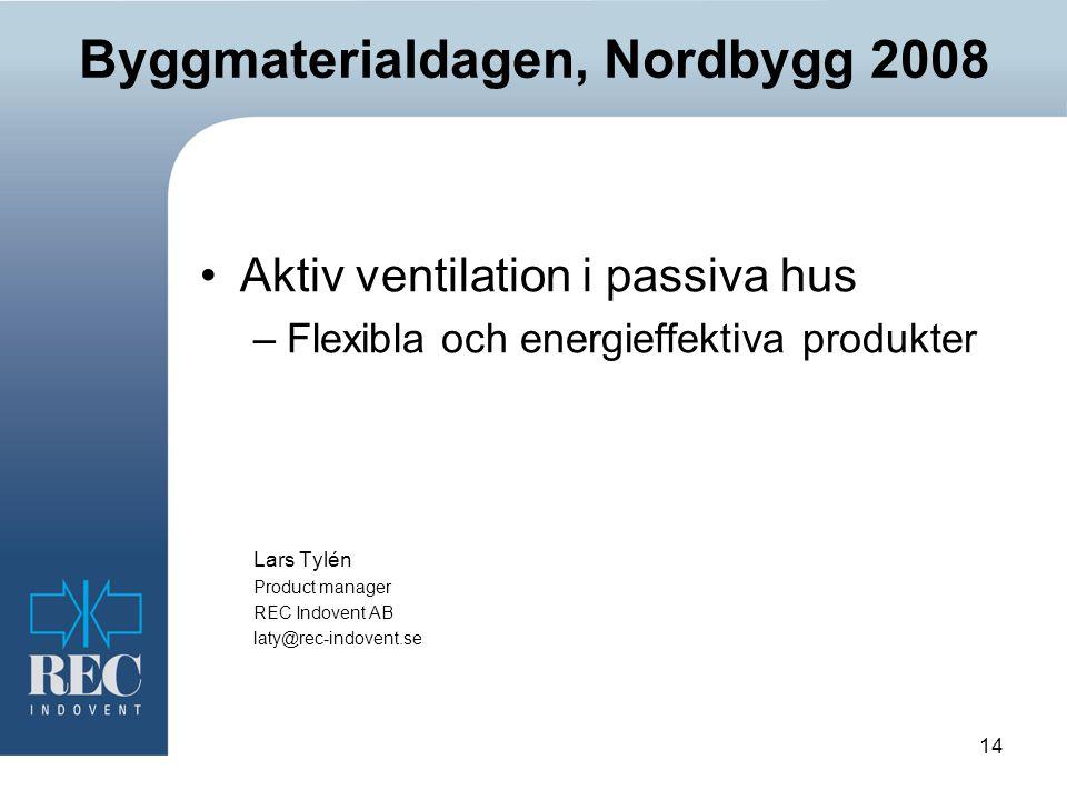 14 Byggmaterialdagen, Nordbygg 2008 Aktiv ventilation i passiva hus –Flexibla och energieffektiva produkter Lars Tylén Product manager REC Indovent AB laty@rec-indovent.se