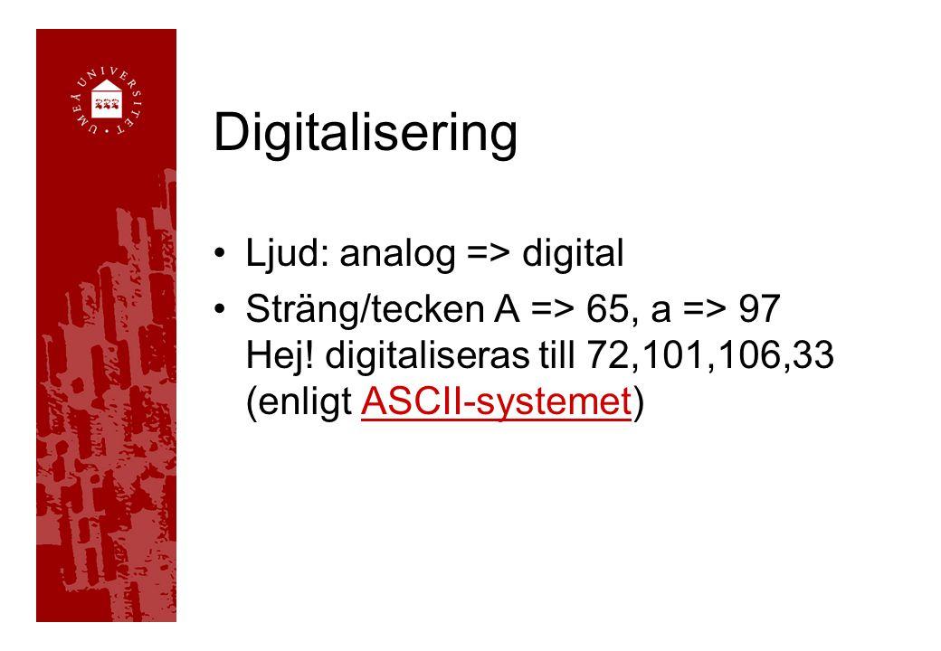 Digitalisering Ljud: analog => digital Sträng/tecken A => 65, a => 97 Hej! digitaliseras till 72,101,106,33 (enligt ASCII-systemet)ASCII-systemet