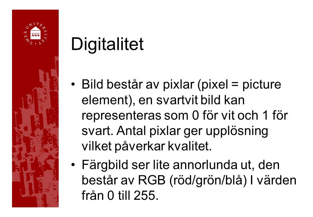 Digitalitet Bild består av pixlar (pixel = picture element), en svartvit bild kan representeras som 0 för vit och 1 för svart. Antal pixlar ger upplös