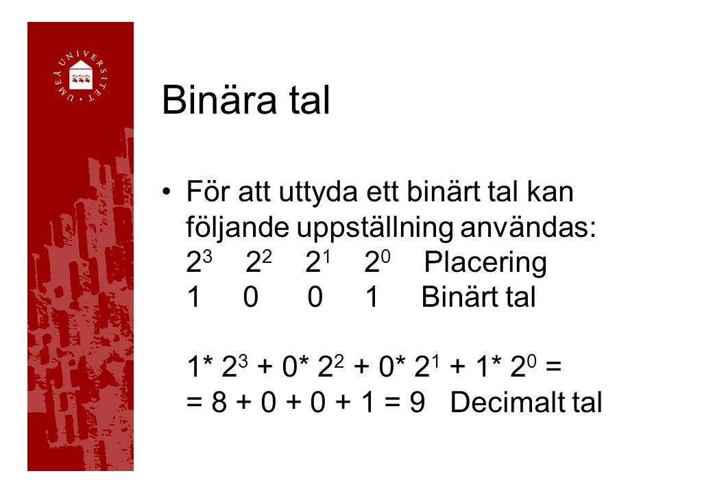 Binära tal För att uttyda ett binärt tal kan följande uppställning användas: 2 3 2 2 2 1 2 0 Placering 1 0 0 1 Binärt tal 1* 2 3 + 0* 2 2 + 0* 2 1 + 1