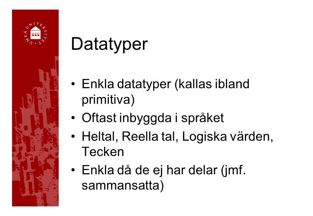 Datatyper Enkla datatyper (kallas ibland primitiva) Oftast inbyggda i språket Heltal, Reella tal, Logiska värden, Tecken Enkla då de ej har delar (jmf