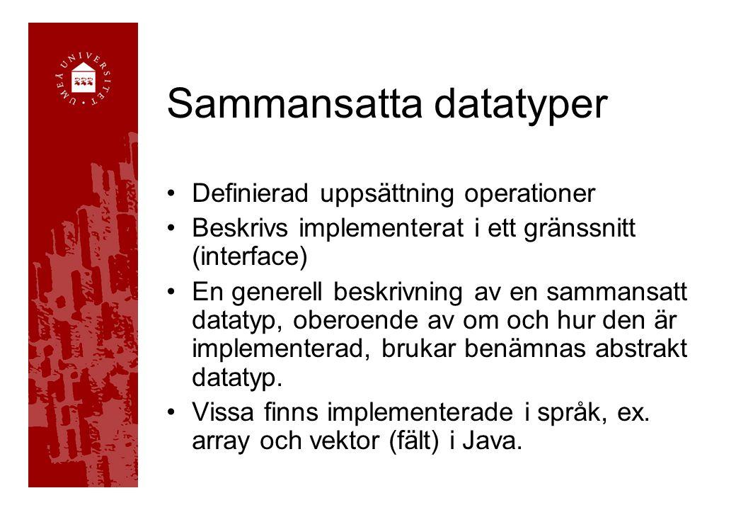 Sammansatta datatyper Definierad uppsättning operationer Beskrivs implementerat i ett gränssnitt (interface) En generell beskrivning av en sammansatt