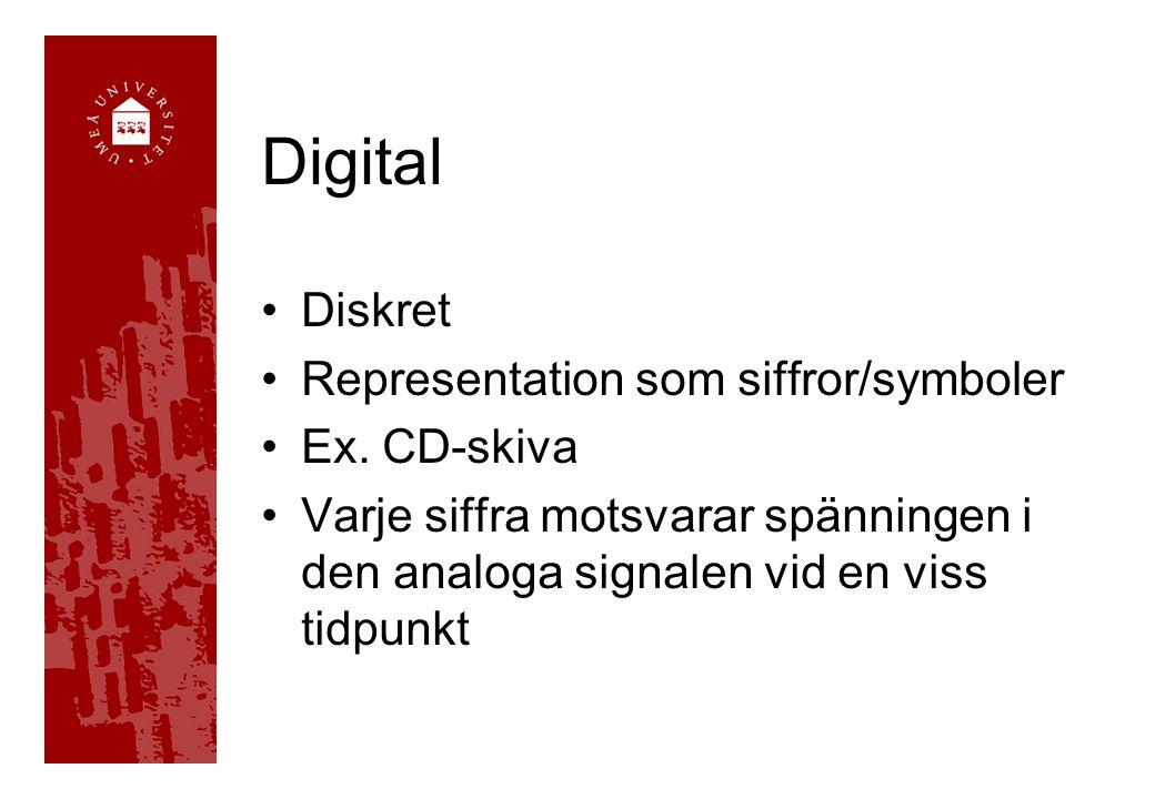 Digital Diskret Representation som siffror/symboler Ex. CD-skiva Varje siffra motsvarar spänningen i den analoga signalen vid en viss tidpunkt